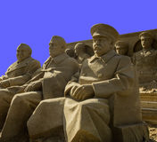 Three great. Sand sculptures of three great men after Yalta meeting. Sculptures were made and destroyed in 2010 year Royalty Free Stock Photography