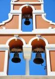 Three Greek bells. Greek view of three bells in the belfry Stock Photos