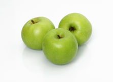 Three green apple. On isolated white background Royalty Free Stock Photography