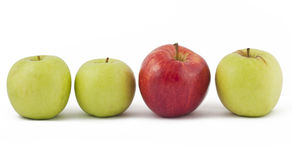 Three green apple and single red on white. Three green apple and one red on white background Royalty Free Stock Images
