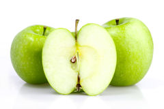 Three green apple with slice isolated Royalty Free Stock Photography