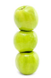 Three green apples stock photo