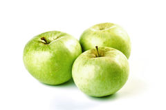 Three green apples Stock Photography