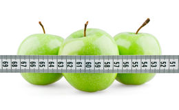 Three green apples behind meter. On white background royalty free stock photos
