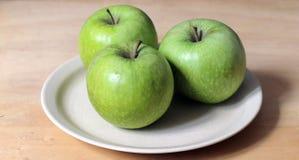 Three Green Apples Stock Photography