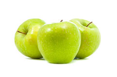 Three green apples. On white background Royalty Free Stock Photo
