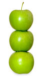 Three green apples on white Stock Images