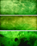 Three green banners. Three green horizontal grunge banners Royalty Free Stock Images
