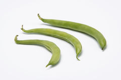 Three green beans. Green beans  on white background Stock Photos