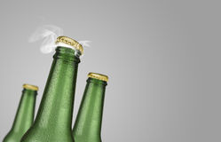 Three green beer bottles on grey background. Horizontal photo of three green cold beer bottles with water drops and golden cap open on grey background Royalty Free Stock Photos