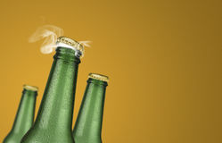 Three green beer bottles on yellow background. Horizontal photo of three green cold beer bottles with water drops and golden cap open on yellow background Stock Photo