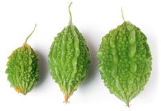 Three green bitter melon or momordica isolated on white background Royalty Free Stock Photos