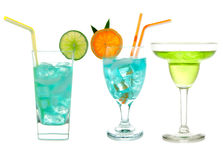 Three green Blue Hawaiian Cosmopolitan Mojito tropical cocktail Royalty Free Stock Image