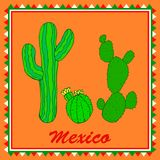 Three green cactuses on orange background. Isolated colorful sty stock illustration
