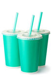 Three green cardboard cups with a straws Royalty Free Stock Photography