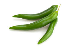 Three green chili Stock Photos