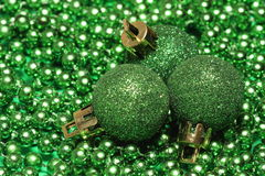 Three green christmas balls Royalty Free Stock Image