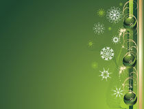 Three green Christmas balls with snowflakes. Card Stock Image