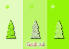 Three green christmas trees. On various background Royalty Free Stock Photo