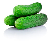 Three Green cucumber isolated on white background Royalty Free Stock Image
