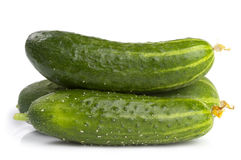 Three green cucumbers Royalty Free Stock Photo