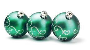 Three green decoration balls Royalty Free Stock Photos