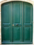 Three green door. Three twin green door stock photos