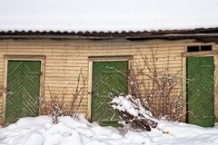 Three Green Doors On An Abandoned Building Stock Photography