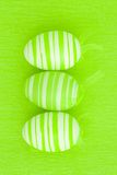 Three green easter eggs Royalty Free Stock Image