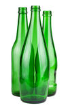 Three green empty bottles Stock Images