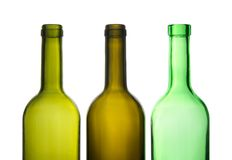 Three green empty wine bottles Royalty Free Stock Image