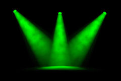 Three Green Foggy Spotlights Converging Stock Photography