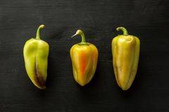 Three green fresh bell peppers on a black wooden background stock photo