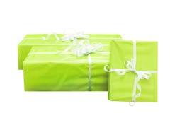 Three green gift boxes Stock Photo