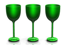 Three green glasses royalty free stock photos