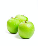 Three green granny smith apples Royalty Free Stock Photography