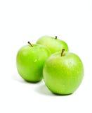 Three Green Granny Smith Apples Royalty Free Stock Photography