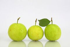 Three green guava. On White background Royalty Free Stock Photography