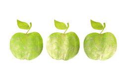 Three green hand-drawn apples on white background for your design. Three green hand-drawn apples on white background for design Royalty Free Stock Image