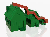 Three green homes and red arrow. On white reflection background Royalty Free Stock Image