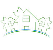 Three green houses icon Stock Image