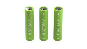 Three green isolated batteries Stock Photography