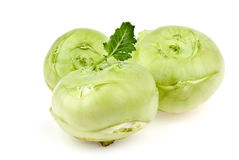 Three green kohlrabi Stock Photos