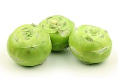 Three green kohlrabi Stock Photo