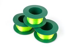 Three Green light Nylon line. royalty free stock photo