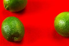 Three green lime on red background. Three green lime fruit on vivid red background stock image