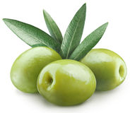Three green olives. Stock Images