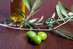 Three green olives Stock Images