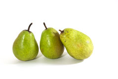 Three green pears. On a white background Royalty Free Stock Image