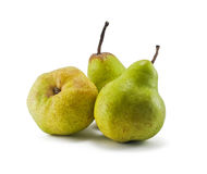 Three green pears. Isolated on white background Royalty Free Stock Photos